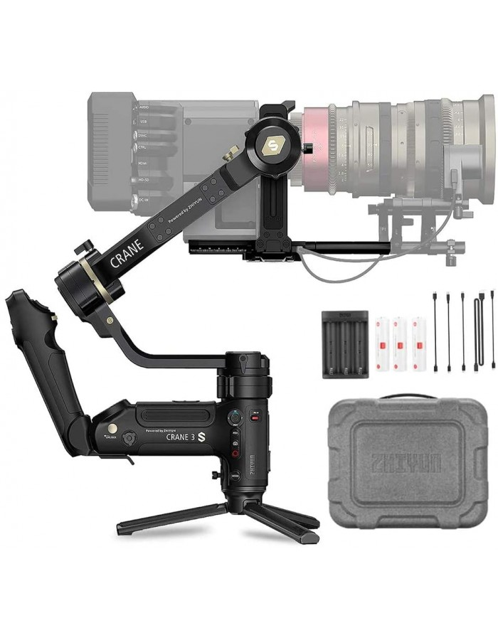 Zhiyun Crane 3S 3-Axis Handheld Gimbal Stabilizer for DSLR Cameras and Camcorder, 6.5kg Payload, Extendable Roll Axis, 12 Hours or Longer Continuous Uptime, DC-in, TransMount SmartSling Handle