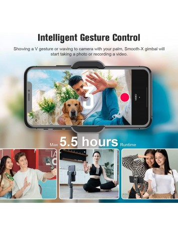 Zhiyun Smooth X Selfie Stick 2 Axis Phone Gimbal Stabilizer for Smartphone iPhone Xs Max Huawei, with Handheld Extendable Foldable, Face Tracking, Gesture Control(Gray Combo)