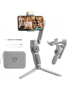 Zhiyun Smooth Q3 Combo, Handheld 3-Axis Smartphone Gimbal Stabilizer with Grip Tripod LED Fill Light Protective Case Foldable Phone Stabilizer Compatible with iPhone & Android