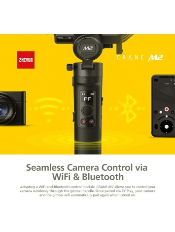 ZHIYUN Crane M2 3-Axis Gimbal Stabilizer for Light Mirrorless Camera,Action Camera,Smartphone,for Sony A6000,A6300,A6500,RX100M,GX85,Gopro Hero 5/6/7,iPhone Xs XR,WiFi/Bluetooth Control,720g Payload
